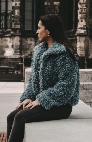 Faux curly fur jacket