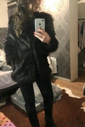 H&M Cappotto in eco pelliccia marrone-nero