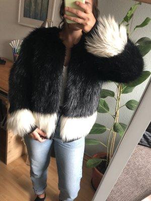 Anna Dello Russo for H&M Fur Jacket black-white