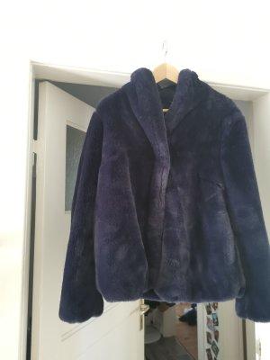 Black Label Fake Fur Jacket dark violet