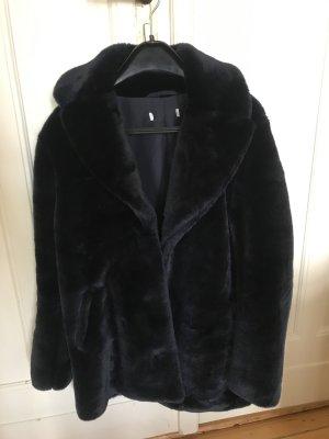 Faux fur Jacke/ Mantel dunkelblau 34