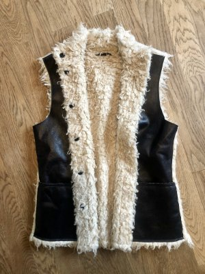Faux Fur Lammfellweste Black & White