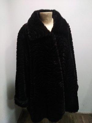 Faux Fur Mantel in dunkelbraun mit schwarzem Muster Gr. 42