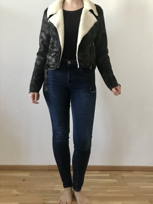 Amuse Society Faux Leather Jacket dark brown-black brown polyester