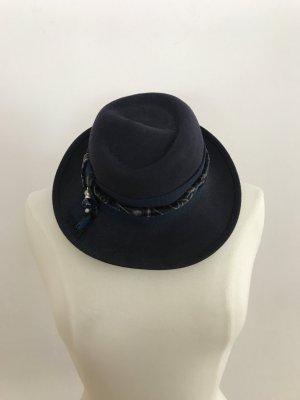 Vintage Floppy Hat dark blue-blue cotton