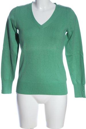 Favourite Basics V-Ausschnitt-Pullover grün Casual-Look