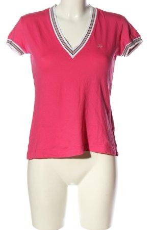 FAY V-Ausschnitt-Shirt pink-weiß Schriftzug gestickt Casual-Look