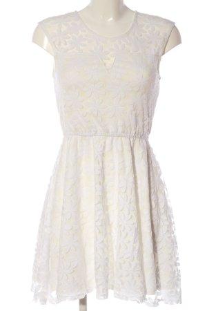 FB Sister A-Linien Kleid weiß-creme Blumenmuster Elegant