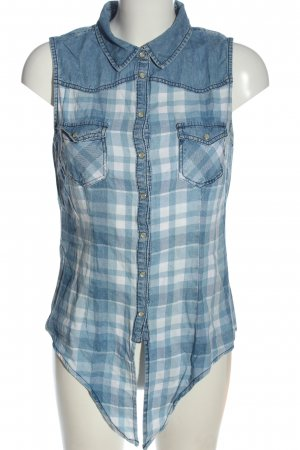FB Sister Blusa senza maniche blu-bianco motivo a quadri stile casual