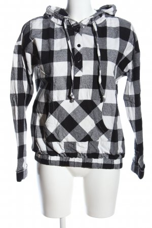 FB Sister Hooded Sweater black-white allover print casual look