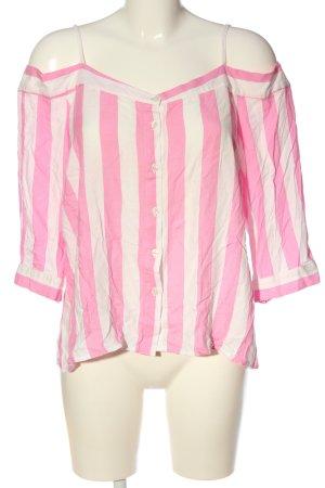 FB Sister Blouse Carmen rose-blanc motif rayé style décontracté
