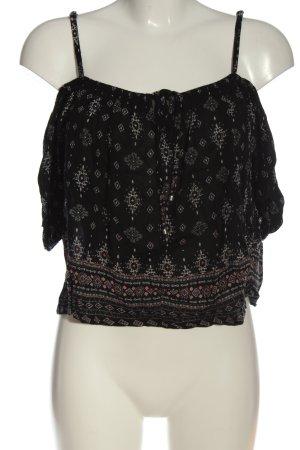FB Sister Koszula typu carmen czarny-jasnoszary Abstrakcyjny wzór