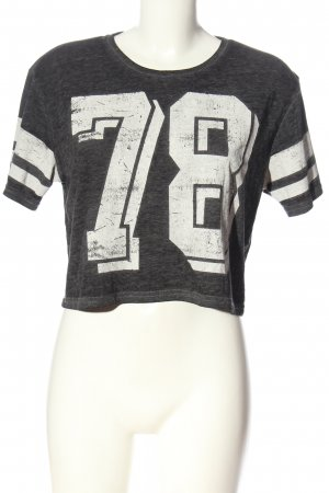 FB Sister Cropped Shirt light grey-white printed lettering casual look