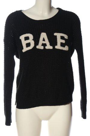 FB Sister Gehaakte trui zwart gedrukte letters casual uitstraling