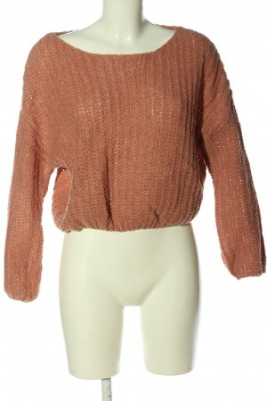 FB Sister Crochet Sweater brown cable stitch casual look