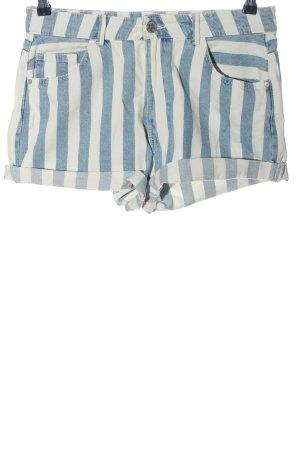 FB Sister Jeansshorts weiß-blau Streifenmuster Casual-Look