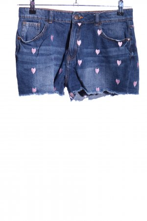 FB Sister Jeansshorts blau-pink Motivdruck Casual-Look