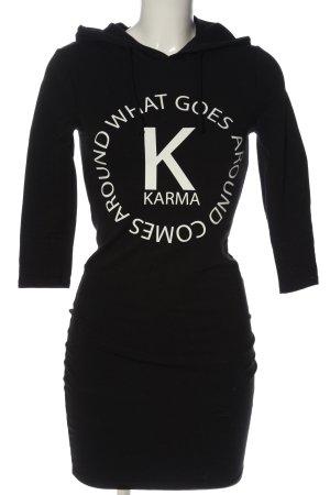FB Sister Hooded Dress black printed lettering casual look