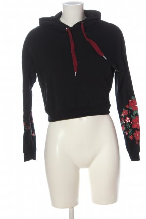 FB Sister Sudadera con capucha negro-rojo estampado floral look casual