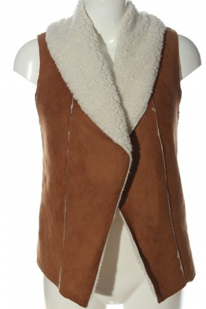 FB Sister Fake Fur Vest brown-white casual look