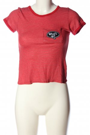 FB Sister Kurzarm-Bluse rot-pink Streifenmuster Casual-Look
