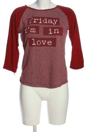 FB Sister Langarm-Bluse rot Schriftzug gedruckt Casual-Look