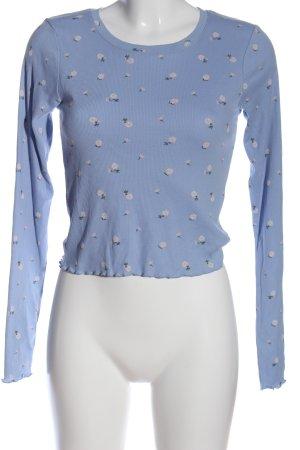 FB Sister Langarm-Bluse blau Allover-Druck Casual-Look