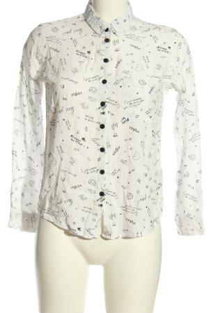 FB Sister Camicia a maniche lunghe bianco-nero stampa integrale stile casual