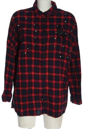 FB Sister Camicia a maniche lunghe nero-rosso stampa integrale stile casual