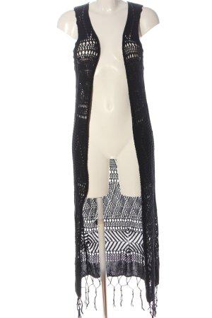 FB Sister Gilet long tricoté noir style décontracté