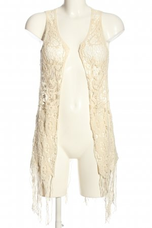FB Sister Long Knitted Vest cream casual look