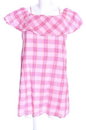 FB Sister Midikleid pink-blassgelb Karomuster Casual-Look