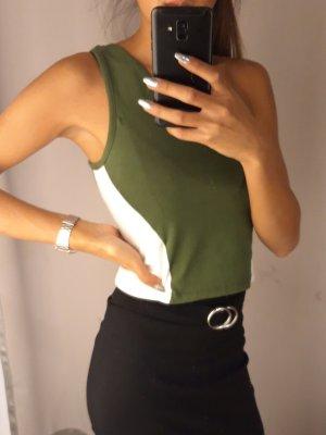 FB Sister Top monospalla bianco-verde oliva Cotone