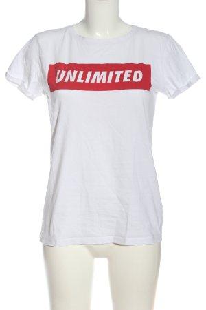 FB Sister Camiseta estampada blanco-rojo letras impresas look casual