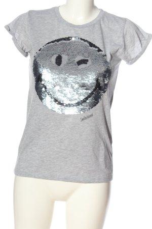 FB Sister Camiseta estampada gris claro-color plata moteado look casual