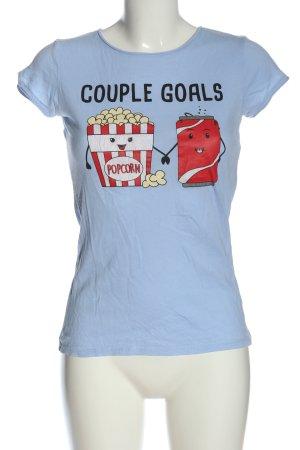 FB Sister Camiseta estampada azul-rojo estampado temático look casual