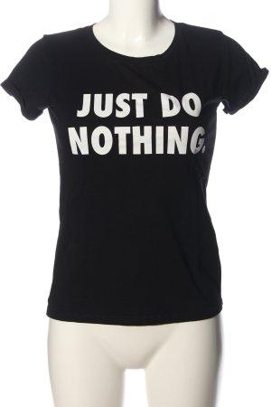 FB Sister Camiseta estampada negro-blanco letras impresas look casual