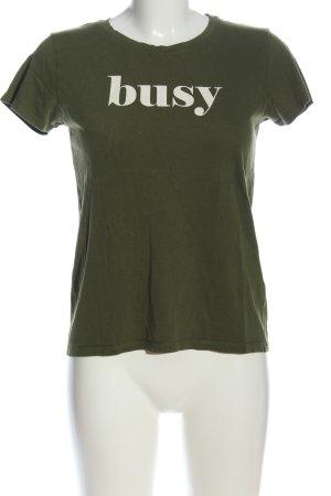 FB Sister Camiseta estampada caqui-blanco letras impresas look casual