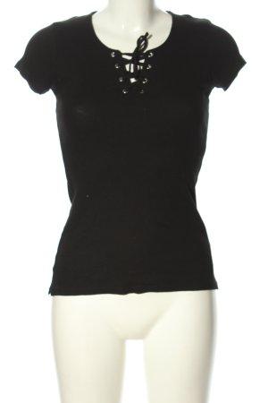 FB Sister Ribbed Shirt black casual look