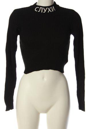 FB Sister Koszula o skróconym kroju czarny-w kolorze białej wełny Melanżowy