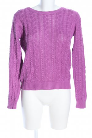 FB Sister Rundhalspullover pink Zopfmuster Casual-Look