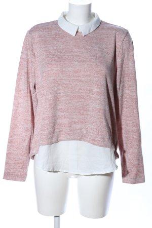 FB Sister Rundhalspullover pink-weiß meliert Casual-Look