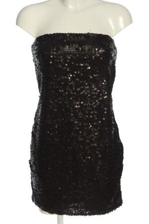 FB Sister schulterfreies Kleid schwarz Glitzer-Optik