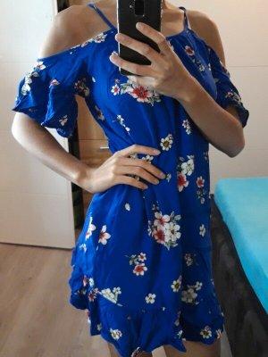 FB-Sister Schulternfreies Sommerkleid [Blau mit rosa-weißen Blumen, Gr. XS]