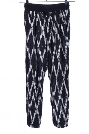 FB Sister Pantalon en jersey noir-blanc motif abstrait style décontracté