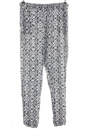 FB Sister Stoffhose schwarz-weiß grafisches Muster Casual-Look