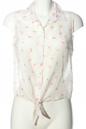 FB Sister Transparenz-Bluse weiß-pink Allover-Druck Business-Look