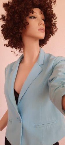 FB Sister - türkiser Kurz-Blazer mit Knopfverschluss und seitlicher Raffung am Ärmel