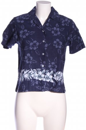 FBR Kurzarm-Bluse blau Allover-Druck Casual-Look