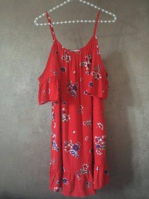 FBSister Kleid Offshoulder Sommerkleid rot Blumen Gr. S